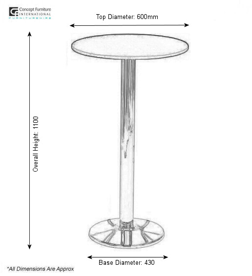 Concept furniture hire high surf table hire in uk for Table dimensions